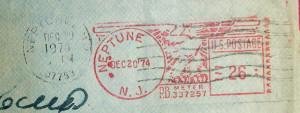 Axelrods letter 1974 - 2017 stamp