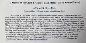 Malawi checklist 1999-2019